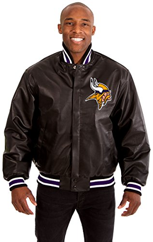 Minnesota Vikings Men's Leather Jacket with Hand Crafted Leather Team Logo