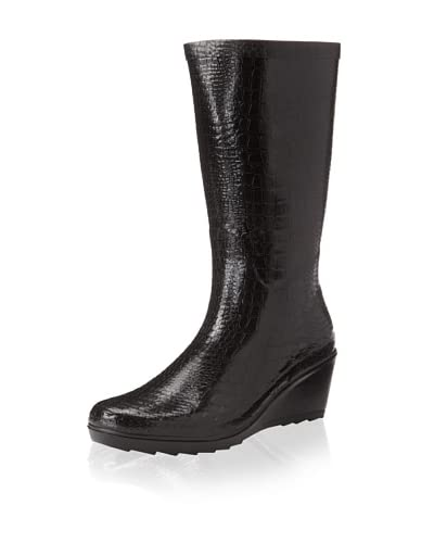 Chooka Women's Wedge Snake Rain Boot  - Black