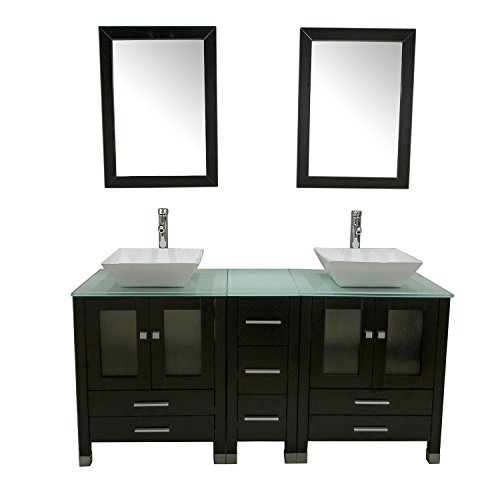 Why Choose SL 60 Inches Bathroom Double Ceramic Sink Tempered Glass Countertop Vanity Wooden Cabinet w/Mirror