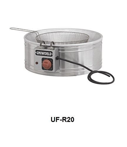 Uniworld Counter-top Electrical Round Fryers with Stainless Steel body & Round Nickel Plated basket. Temperature range from 176 ºF to 392 ºF. High Limit switch, 110 V / 60 Hz, Power 1850 W ETL Approval Model No. UF-R20 (Uniworld Round Fryer compare prices)