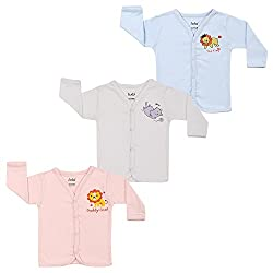 Lula Baby Boy Multi color Full sleeve Open Tee(Pack of 3)
