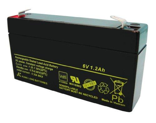 Akku Batterie Handlampe Handscheinwerfer Halogenlampe 6V 1,2Ah VdS geprüft 2Ah Blei Gel wie 1Ah, 1,1Ah 1,2Ah 1,3Ah kompatibel