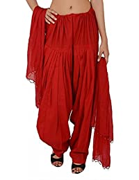 Bottomline Women Printed Cotton Solid Full Patiala Salwar Dupatta Set ( Red, Free Size)