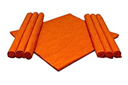 Home Colors Orange Cotton Table Linen Set (6 Place mats and 1 Table runner)