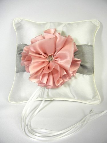 Raebella New York Keepsake Satin Metallic And Cherry Blossom Ring Pillow For Traditional Wedding Ceremony back-773919