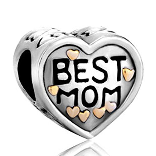 CharmingJewelry Gold Plated Heart Love Best Mom Charm Bead