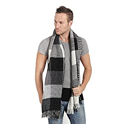 FabSeasons Two Way Unisex Winter Black & White Small Chex Printed Scarf, Scarves, Stoles and Shawl