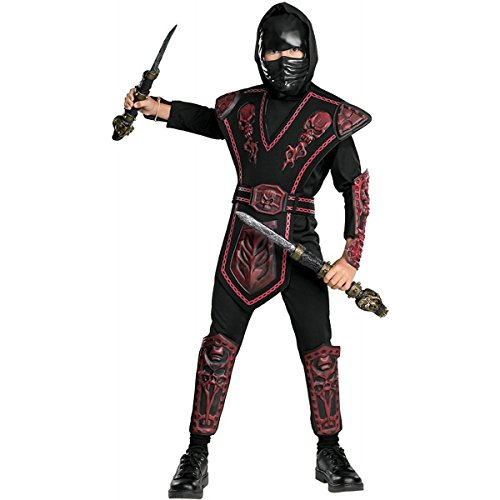Baoer Red Skull Warrior Ninja Costume: Boy`s Size 4-6