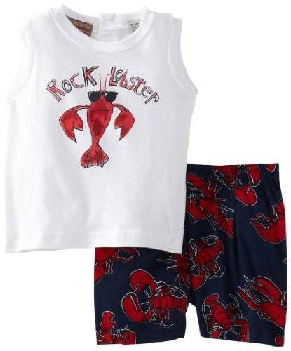 Kids Headquarters Baby-Boys Newborn Tee Rock Lobster With Swim Shorts, White, 3-6 Months front-723346