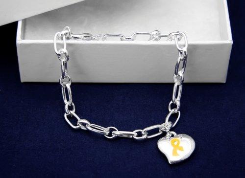 Gold Ribbon Bracelet-Silver Linked w/ Puffed Heart Charm (18 Bracelets)