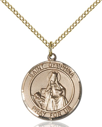 Gold Filled Saint St. Dymphna Pendant Medal Pendant 3/4 X 5/8 Catholic Patron Saints Comes Gift-Ready With A 18 Inch Gold Filled Curb Chain Necklace Comes Gift-Ready With A Grey Velvet Box