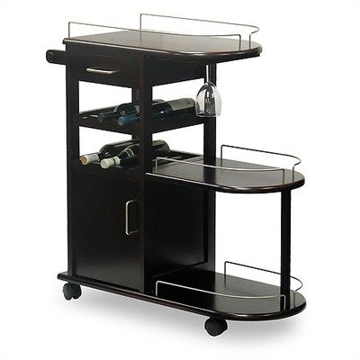 Kitchen Cart, Movable Table, Wine Rack, Drawer, Rack