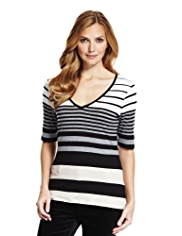 M&S Collection V-Neck Striped Top with StayNEW™