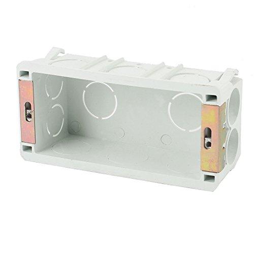 Rectangle Design 135mmx65mmx45mm Light Gray 2 Gang Pattress Back Box - 1