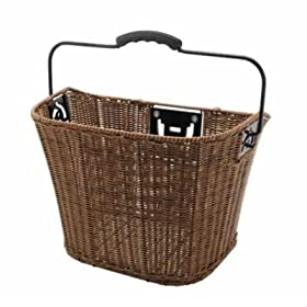 "Inline Front Handlebar Bicycle Basket Wicker Brown 12"" x 9"" x 10"""