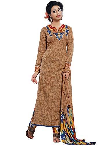 Light Brown Colour Cotton Semi Party Wear Zari Thread Patch Embroidery Pant Style Suit 781