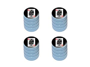 King of Hearts – Playing Cards – Tire Rim Valve Stem Caps – Light Blue