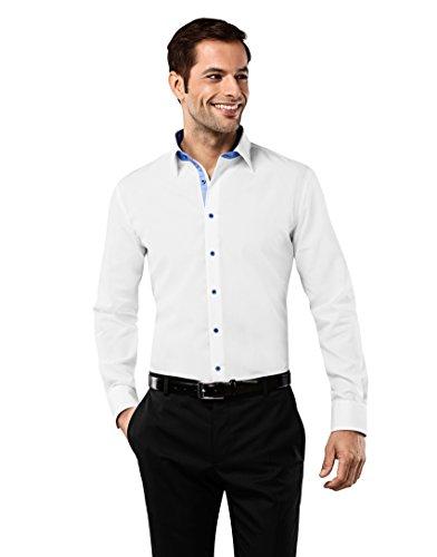 VB -  Camicia classiche  - Basic - Classico  - Maniche lunghe  - Uomo blanc/bleu clair X-Large