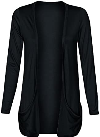 Fashion Wardrobe Womens Long Sleeves Drop Pocket Boyfriend Cardigan Ladies Open Casual Tops 8-14 (USA 6-8 / UK 6-10 (S/M), Black)