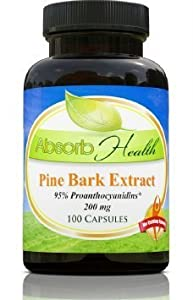 Pine Bark Extract | 200mg | 100 Capsules | 95% OPC Flavanoids | Powerful Antioxidant and Free Radical Scavenger