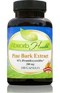 Pine Bark Extract | 200mg | 100 Capsules | 95% OPC Flavanoids | Powerful Antioxidant and Free Radical Scavenger
