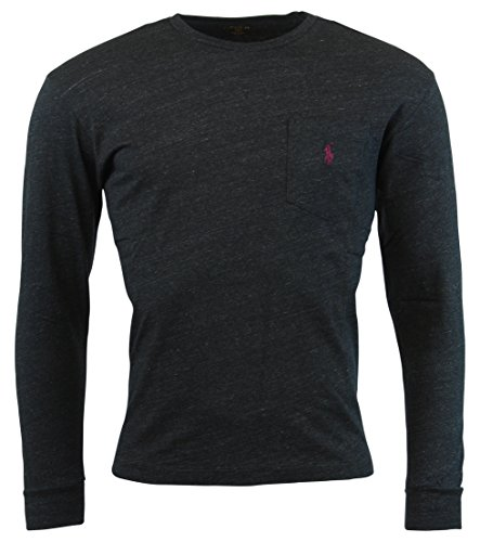Polo Ralph Lauren Mens Long Sleeve Pocket Logo T-Shirt - S - Black Heather