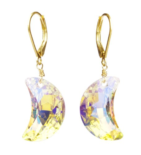 Gold Plated Silver Swarovski Elements Crystal Aurora Borealis Faceted Crescent Moon Earrings
