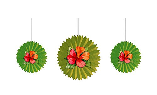 Creative Converting 3 Count Tissue Fans with Flower Attachments, Bamboo Weave