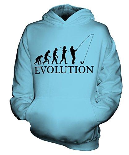 CandyMix Angeln Fischfang Evolution Des Menschen Unisex Kinder Jungen/Mädchen Kapuzenpullover, Größe 7-8 Jahre, Farbe Himmelblau