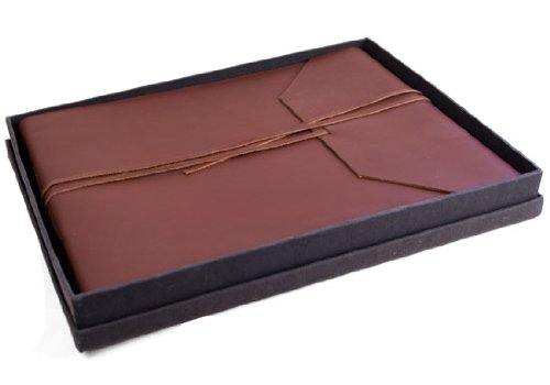 Indra Handmade Brown Leather Photo Album with Box, Classic Style pages