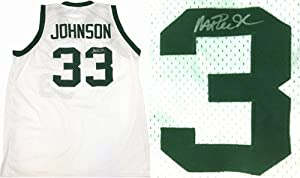 Magic Johnson Signed Michigan State Spartans White Custom Jersey