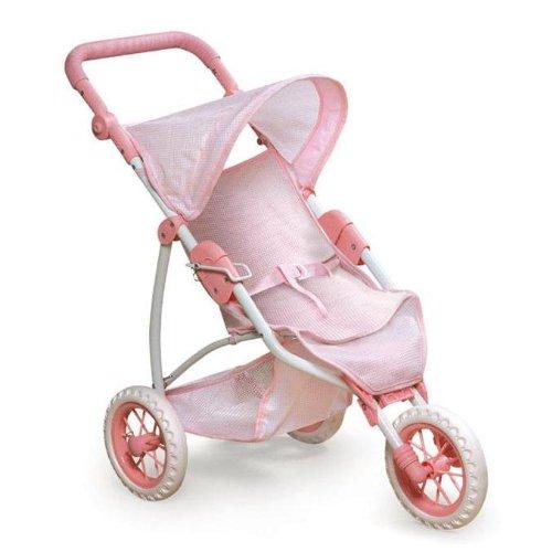 Badger Basket Three Wheel Doll Jogging Stroller - Pink/White