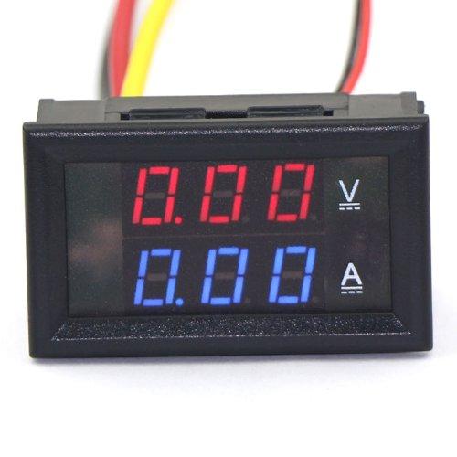 Drok™ Dc Volt Amp Meter 2In1 Digital Amperemeter Voltmeter Led Tester Blue Red 0-100V/10A Car Battery Monitor