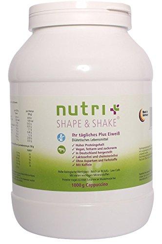 Nutri-Plus Shape & Shake Vegan Cappuccino 1kg - Ohne Aspartam, Laktose & Milcheiweiß - Mit Koffein - Dose inkl. Dosierlöffel
