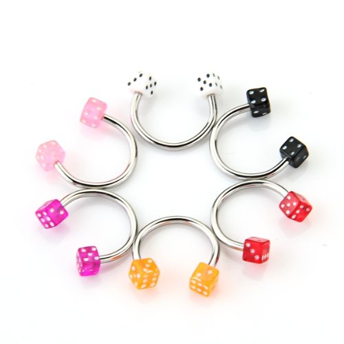 30 Multicolor Stainless Steel Nose Studs Rings Bars Body Piercing