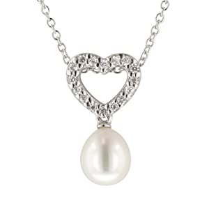 Sterling Silver Pendant with Freshwater Cultured Pearl, 16+2""