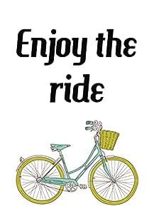 Poster enjoy the ride quote word art unique vintage bike for 70 bike decoration