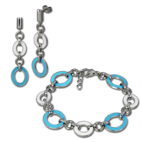 Set SterlinX - orecchini + bracciale in acciaio inox con turchese - bianco smaltato in Stainless Steel Kollektion von SterlinX D1ESSG08T