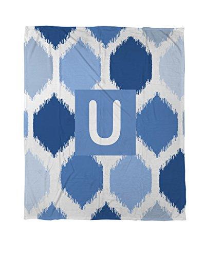 Thumbprintz Duvet Cover, Twin, Monogrammed Letter U, Blue Batik front-479515
