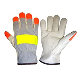 Global Glove 3200HV Cow Grain Leather Premium Grade High Visibility Driver Glove,... by Global Glove