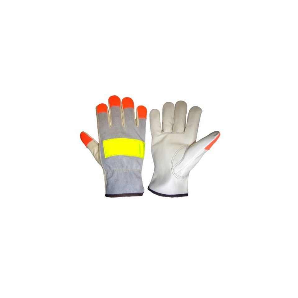 Global Glove 3200HV Cow Grain Leather Premium Grade High Visibility Driver Glove, Work, Extra Large, Orange/Yellow (Case of 72)