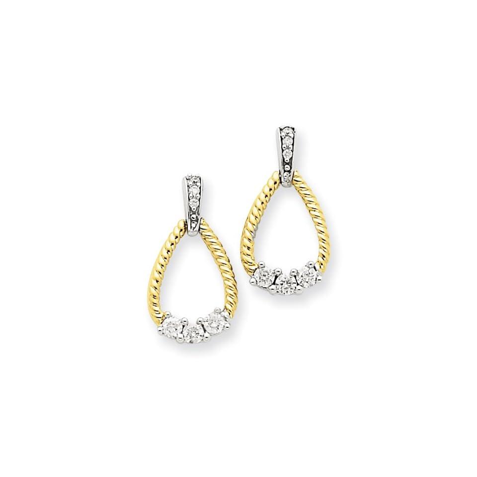 14k Two Tone Diamond Teardrop Post Earrings