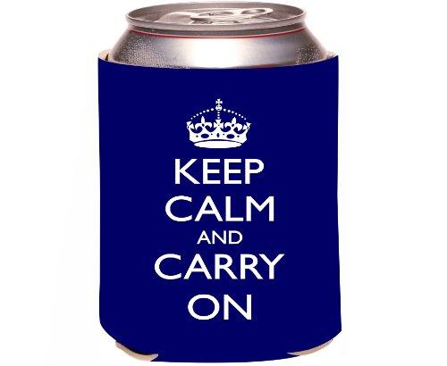 Rikki Knighttm Keep Calm And Carry On - Blue Design Drinks Cooler Neoprene Koozie front-610920