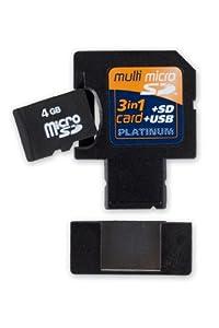 Platinum Multi Micro SDHC Card 3 in 1(SD/USB) 4 GB inklusive Adapter