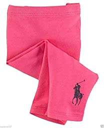 Ralph Lauren Baby Girls Leggings Pink Stretch Cotton Size 6 M