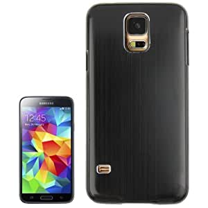 Metal Brushed Texture Paste Skin Plastic Case for Samsung Galaxy S5 G900 in Black
