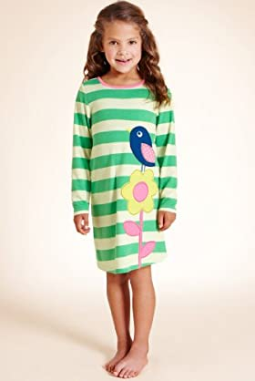 Younger Girls' Round Neck Stripe & Bird Nightdress