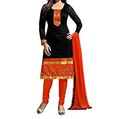 MK Creation Unstitch Dress Material_Chanderi_Black