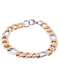 The Jewelbox Mens Boys 316L Stainless Steel Two Tone Curb Bracelet