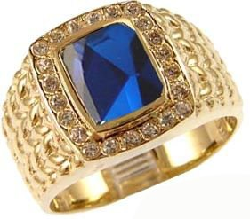 Yellow Gold Plated, Fancy Ring For Men Guy Gent With Brilliant Lab Created Gems Blue Center